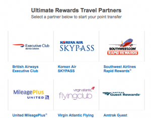 Ultimate Rewards' airline partners include 5 great carriers.