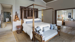 The four poster bed in the Manor House Suite at the St. Regis Mauritius.