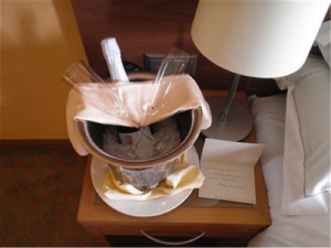 The chilled champagne and hand-written note that greeted us at the Hilton Imperial in Dubrovnik.