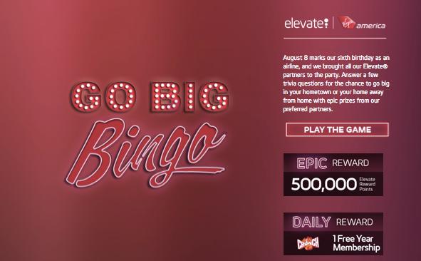 Play Virgin Atlantic's Go Bingo sweepstakes now through September 6, 2013.