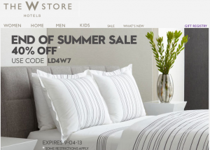 Save up to 40% in the W Hotels Store sale.