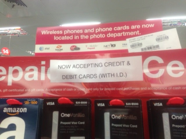 some cvs stores are displaying the new policy that you may buy these cards with debit - Buy Prepaid Card