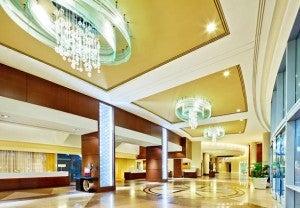 Lobby area at the San Diego Marriott Marquis & Marina.