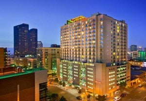 The Marriott Gaslamp Quart is located in the historic Gaslamp Quarter.