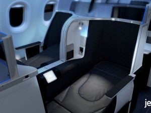 JetBlue's new premium mini-suites. Photo from PR Newswire.