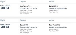 A roundtrip economy flight from JFK-Doha requires 90,000 miles.