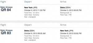 A roundtrip economy flight from JFK-Doha requires 90,000 miles.