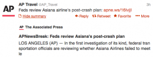 APNews reports on the Federal investigation into the Asiana crash aftermath.