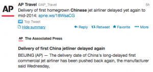 @APTravel reported on the latest delay of China's first jetliner.