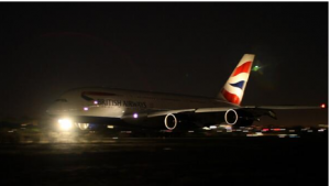 @BritishAirways tweeted a photo of the new A380 landing in Los Angeles on Tuesday night.