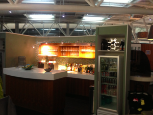 There was a fully stacked bar for pre-flight cocktails.