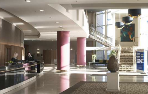 Lobby area at the Belfast Hilton.