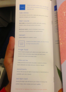 The dinner menu on my KLM Business Class flight.