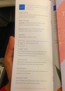 The dinner menu on my KLM Business Class flight.