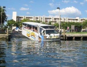 Kids will be delighted with the combined land-and -water Duck Tours.
