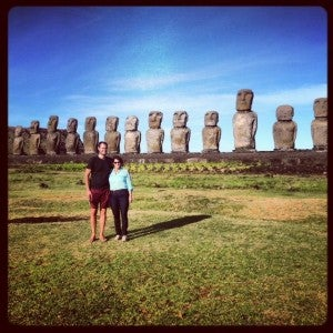 Exploring new destinations with my family inspires me to travel. Here I'm with my Mom on our recent trip to Easter Island