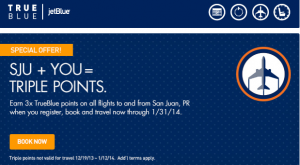 Earn 3x TrueBlue points for flights to San Juan.