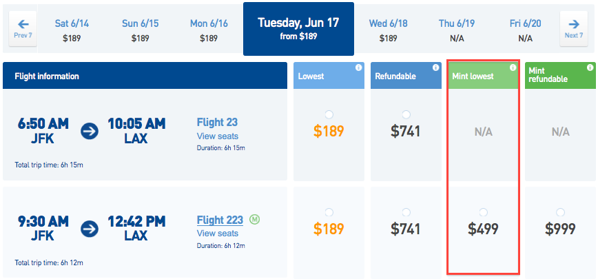 jetblue pricing details on new mint transcontinental premium cabin the points guy. Black Bedroom Furniture Sets. Home Design Ideas