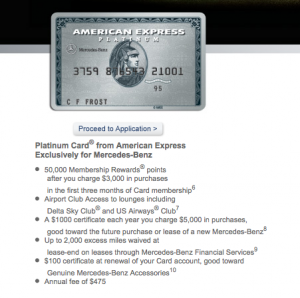 The Mercedes-Benz Platinum comes with a 50,000 point bonus for first-time cardholders.