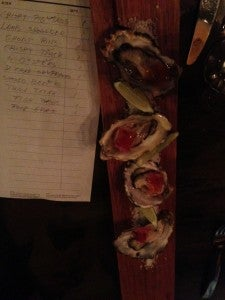 4 Fresh Oysters, Red Onion and Ginger Gribiche with Ponzu Dashi Jelly