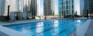 The rooftop pool at the Radisson Blu Aqua Hotel Chicago.