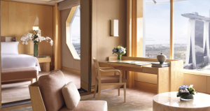 A guest room at the Ritz Carlton, Millenia Singapore.