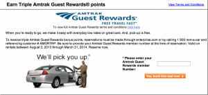 Earn Triple Amtrak Guest Rewards points with Enterprise