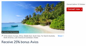 Earn a 25% bonus when transferring hotel points to British Airways.