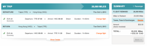 TPE-HKG in Economy using Aeroplan miles.