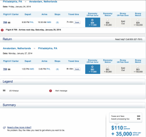 Booking an US Airways off-peak award can save you several thousand miles.