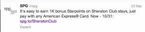 Earn 1,000 SPG points when staying