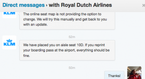 My latest round of Twitter DM's with KLM - thank goodness I got an aisle seat!