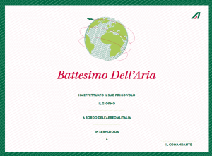 Alitalia rewards kids with flight certificates signed by the crew.