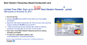 The Best Western Mastercard is offering a limited-time bonus of 50,000 points.