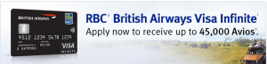 The RBC British Airways Visa Infinite is offering a limited-time high bonus of 45,000 Avios.