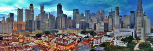 The Singapore skyline is a colorful mix of eastern and western inspirations.