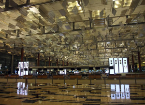 Terminal 3 of Singapore Changi Airport features dramatic air-conditioning vents.