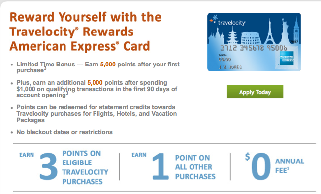 Travelocity's loyalty program is linked to its credit card.