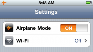 Airplane mode for Apple products can be turned on in Settings.