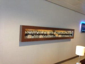 Collection of Delft Houses in the KLM lounge.