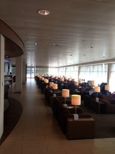 Clean spacious lounge at Amsterdam airport.