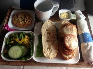 Pre-arrival meal before landing at Newark.