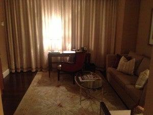Sitting area in my corner suite.