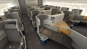 American 777-300 Business Class.