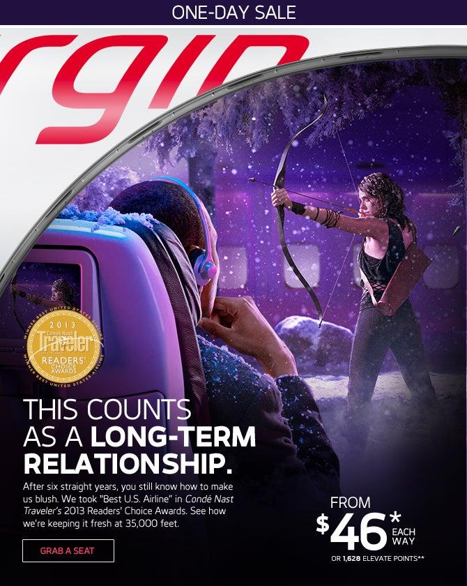 Virgin America one-day fare sale