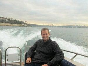 Enjoying a relaxing moment speeding along the Bosphorus