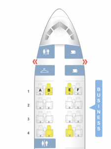 The layout of the Business Class cabin on American's 757.