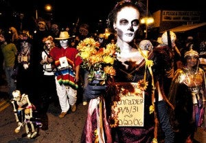 A skeleton honoring a deceased loved one at the  All Souls Procession in Tucson, Arizona.