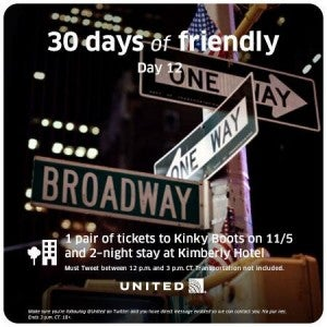 United's 30 Days of Friendly giveaway