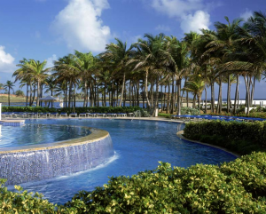 The pool at the Caribe Hilton.